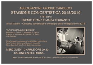 Premio Franz e Maria Terraneo – Nicolò Gattoni – Concerto cameristico e consegna della medaglia d'oro 2018